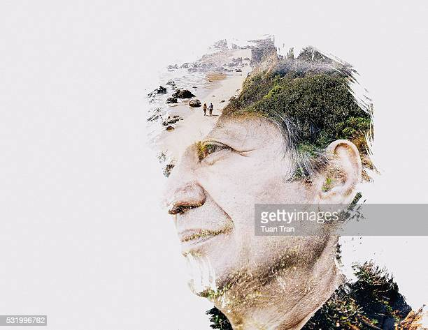 double exposure of man and nature - mehrfachbelichtung stock-fotos und bilder
