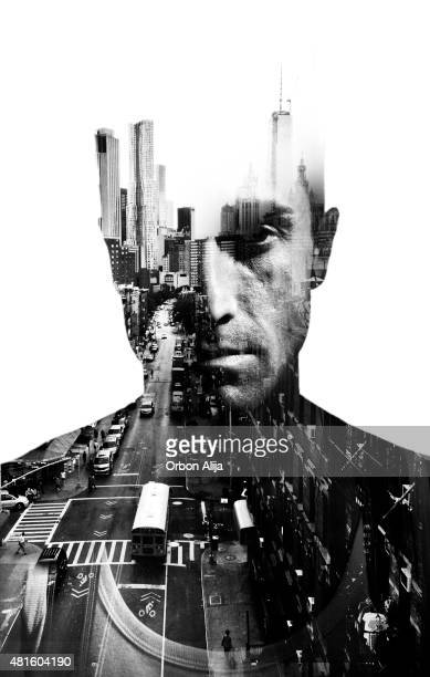 Double exposure of man and New York