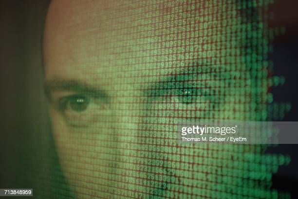Double Exposure Of Man And Numbers
