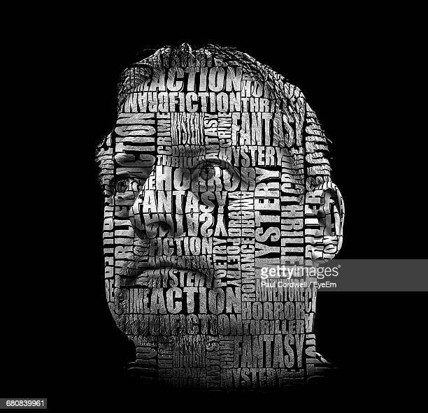 double exposure of man and text against black background - digital composite stock pictures, royalty-free photos & images