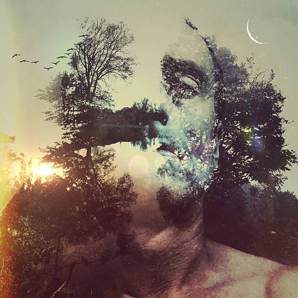 Double Exposure Of Man And Trees During Sunset Wall Art