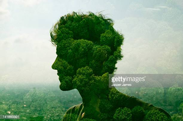 double exposure of man and trees - nature stock pictures, royalty-free photos & images