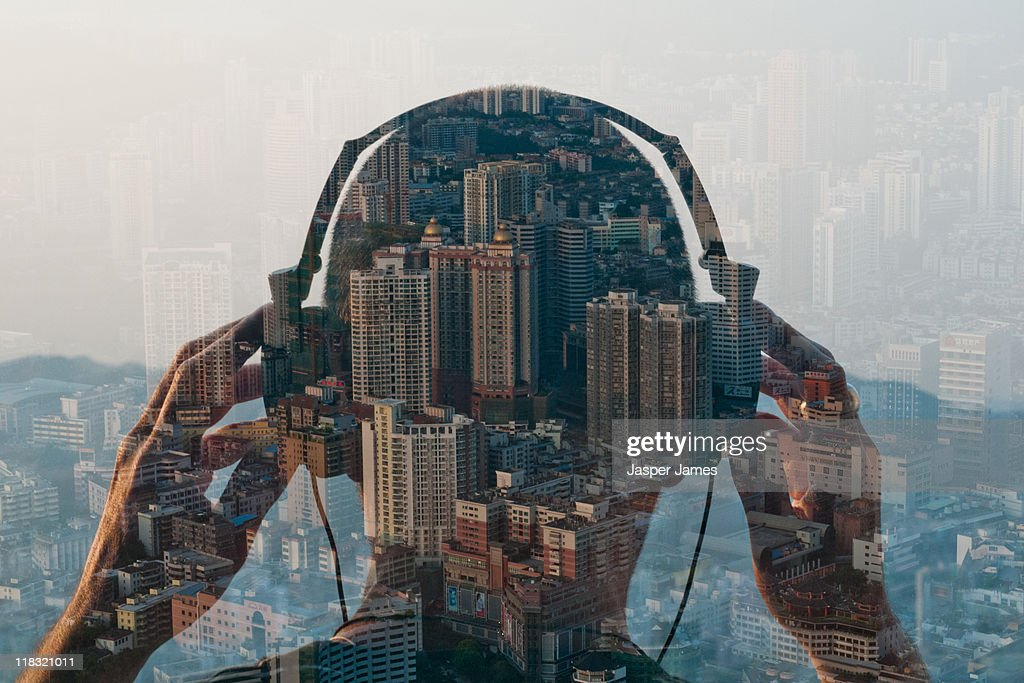 double exposure of man listening to head phones an : Stock Photo
