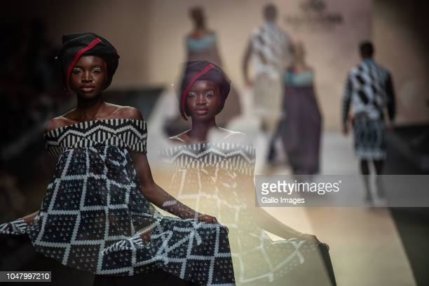 Double exposure of MaXhosa by Laduma show during the Africa Fashion International Joburg Fashion Week at Melrose Arch on October 05 2018 in...