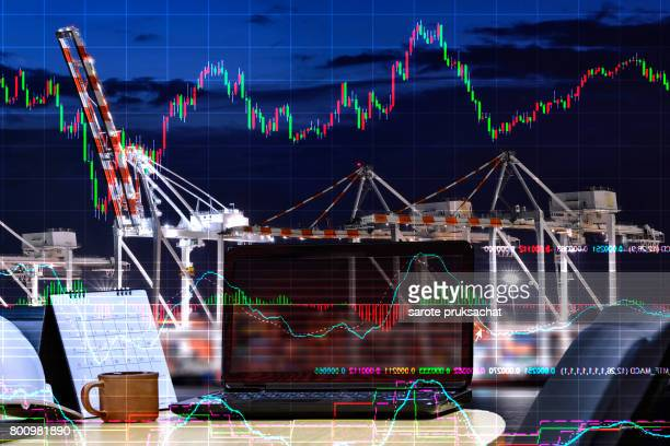 Double exposure of Network technology on wood table with turnover, business profits and blurred Logistic  Import Export background .