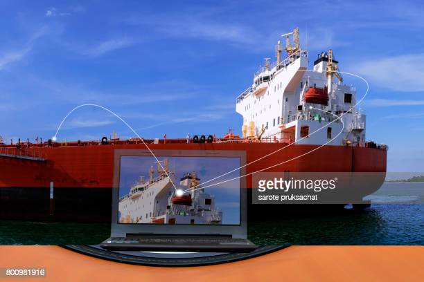 Double exposure of Office Equipment , network connection technology  with Logistic  Import Export background .