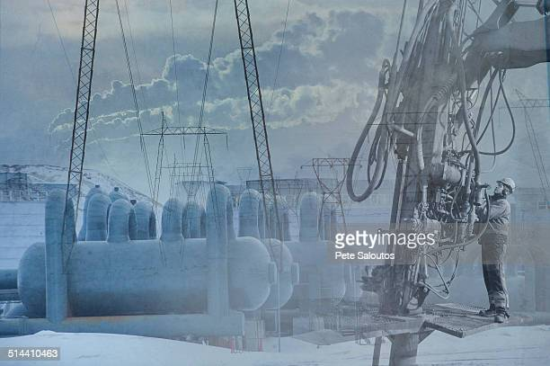 Double exposure of power plant and landscape