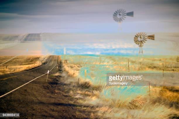 Double exposure of rural highway scene