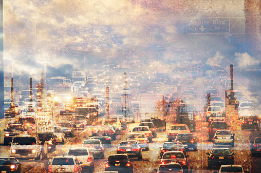 Double exposure of traffic in clouds - gettyimageskorea