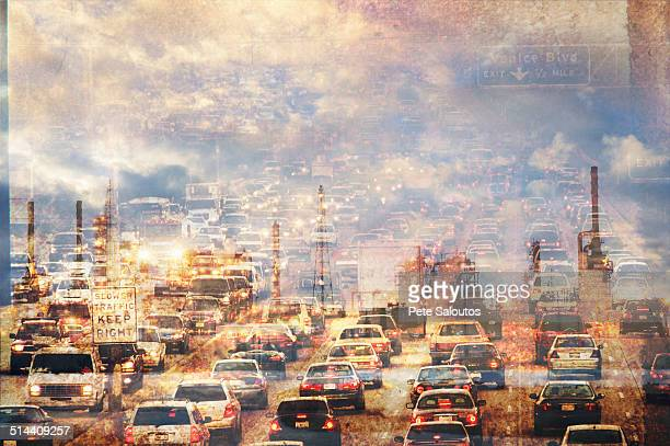 double exposure of traffic in clouds - smog stock pictures, royalty-free photos & images