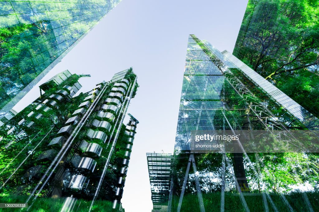 Double exposure of trees and buildings : Stock Photo