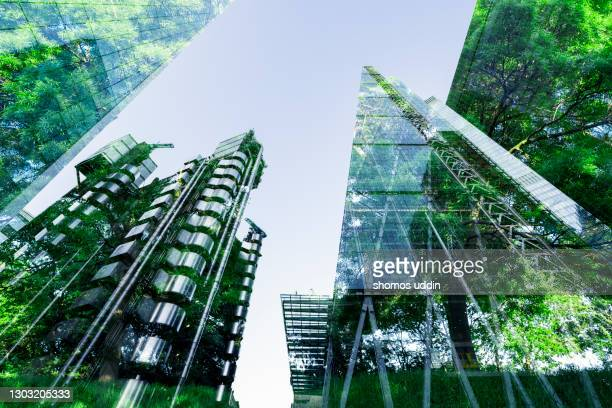 double exposure of trees and buildings - business finance and industry bildbanksfoton och bilder