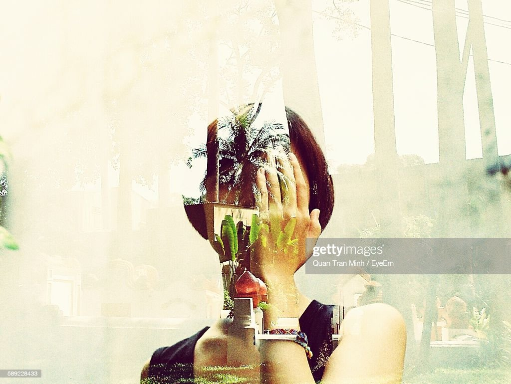 Double Exposure Of Woman And Trees With Reflection : Stock Photo