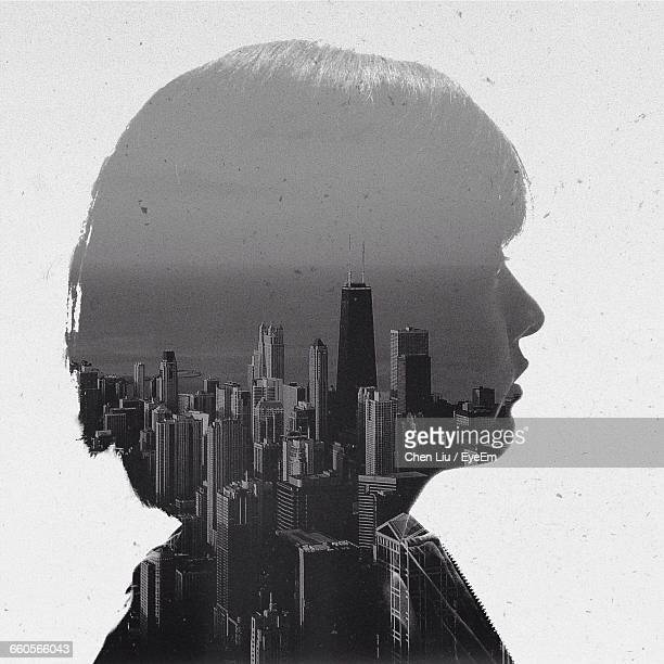 Double Exposure Of Woman And Willis Tower Against Sea