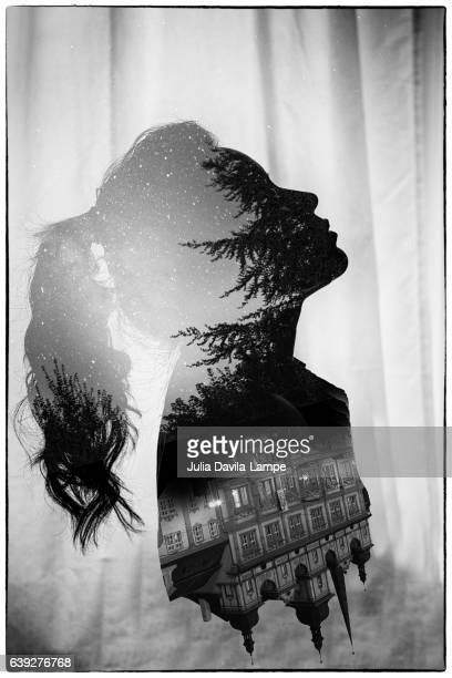 Double Exposure of Woman.