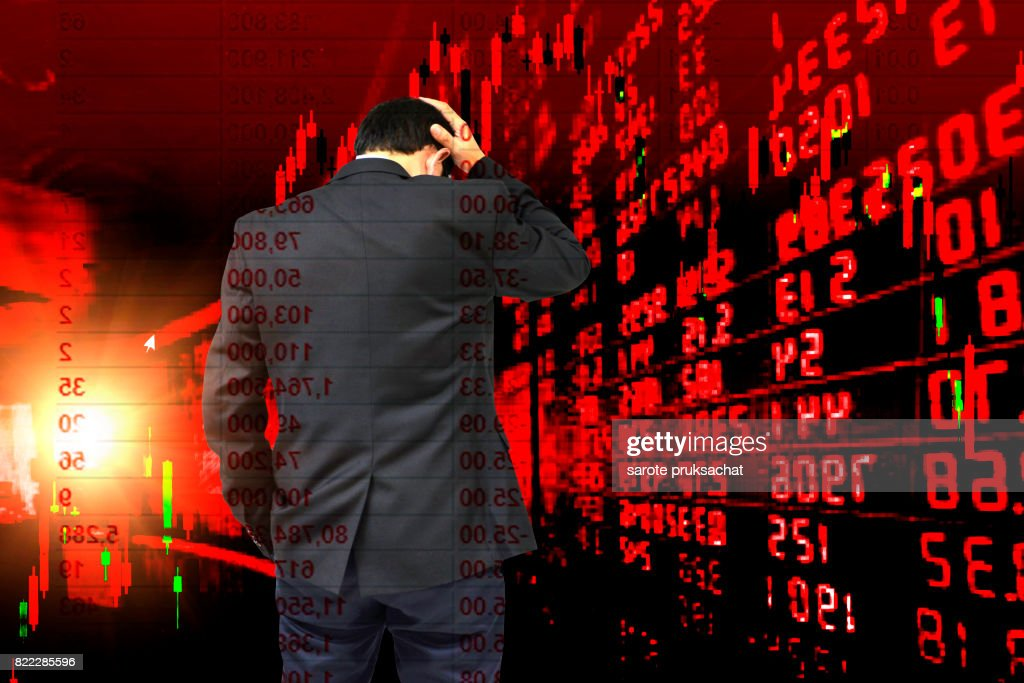 Double exposure of Young businessman his declining shares. Bad business, economy in recession! : Stock Photo