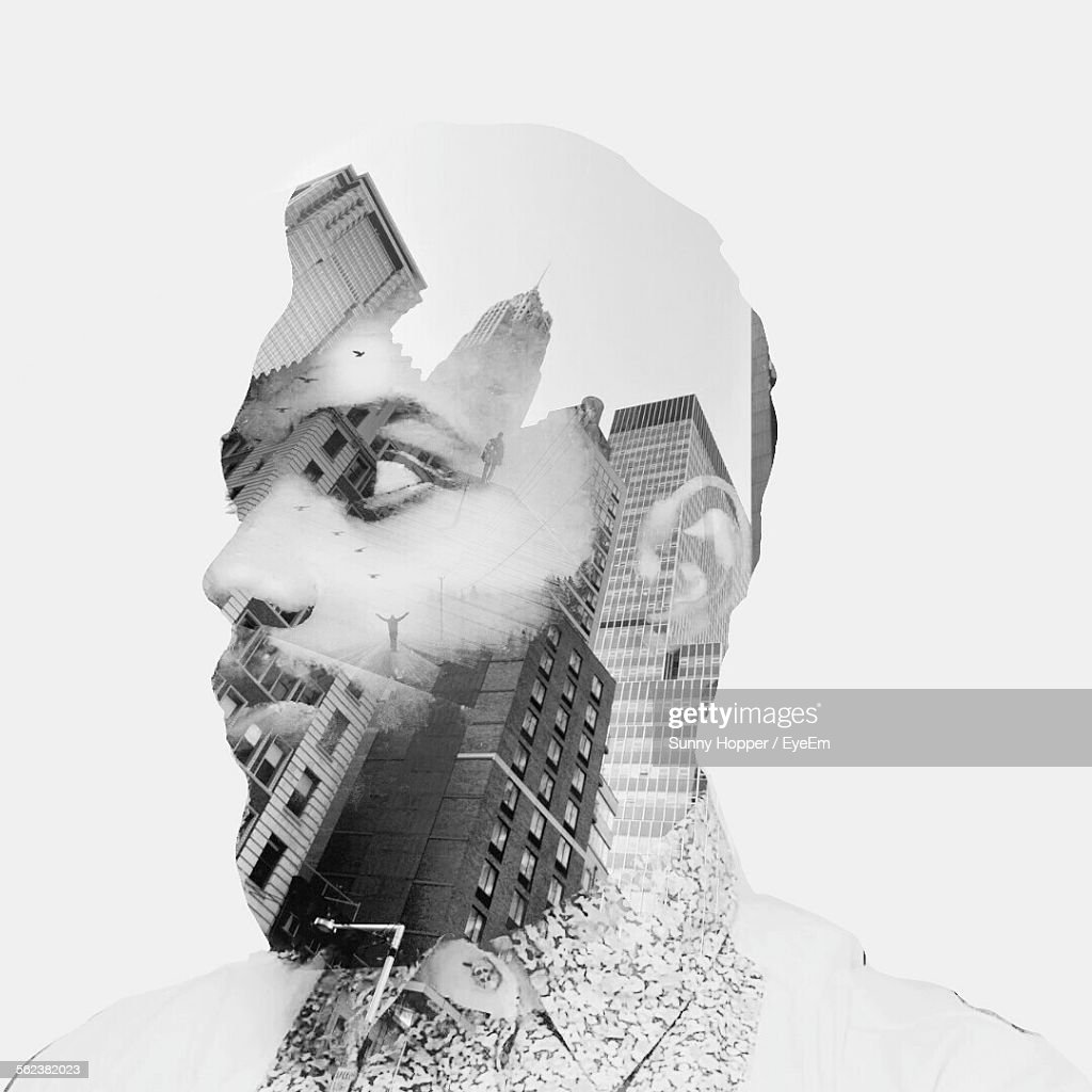 Double Exposure On Man Face Against White Background : Stock Photo