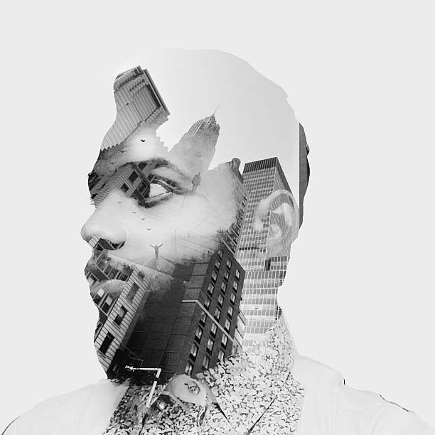 Double Exposure On Man Face Against White Background Wall Art