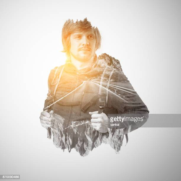 Double exposure portrait of a male traveler.