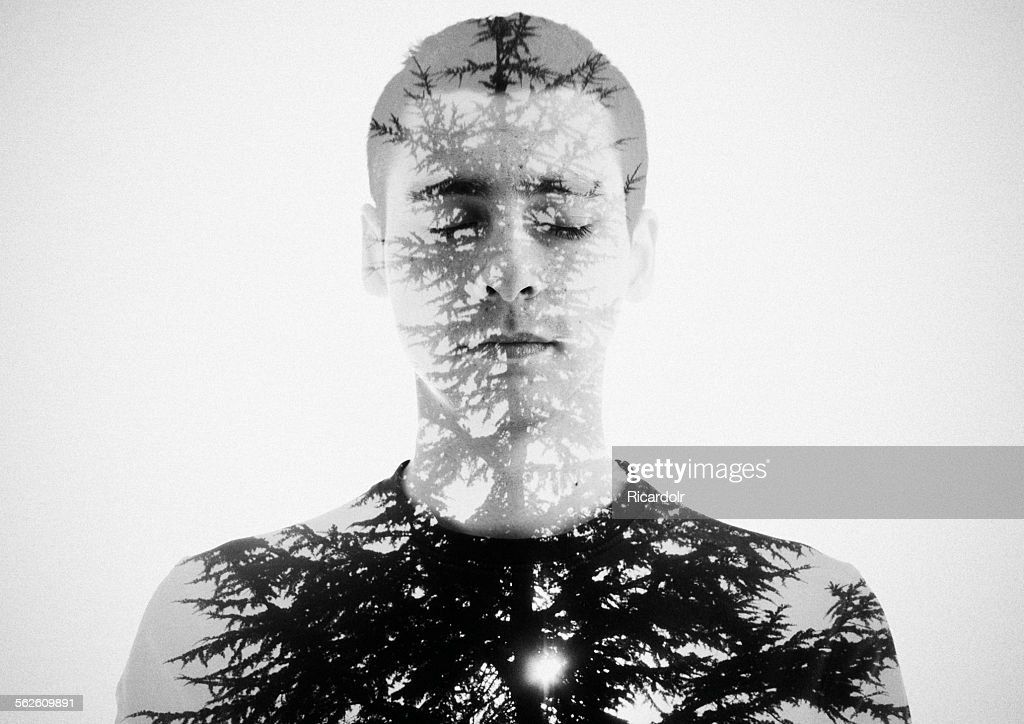 Double exposure portrait of a young man and a tree : Stock Photo