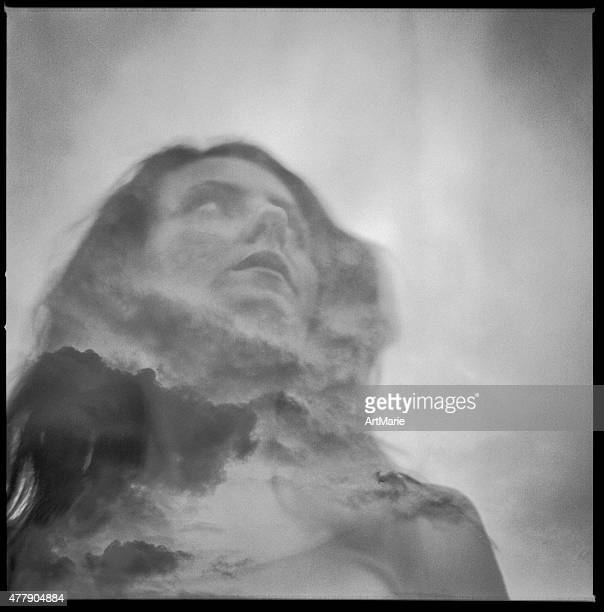 double exposure portrait of beautiful girl - divergent film stock photos and pictures