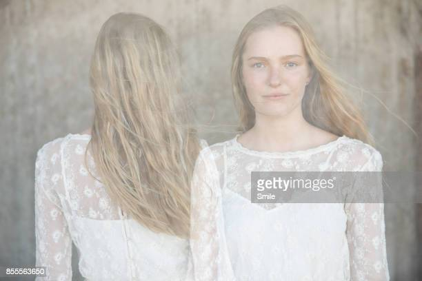 double exposure portrait of blond woman - lace dress stock pictures, royalty-free photos & images
