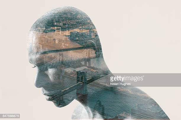 Double exposure portrait of man