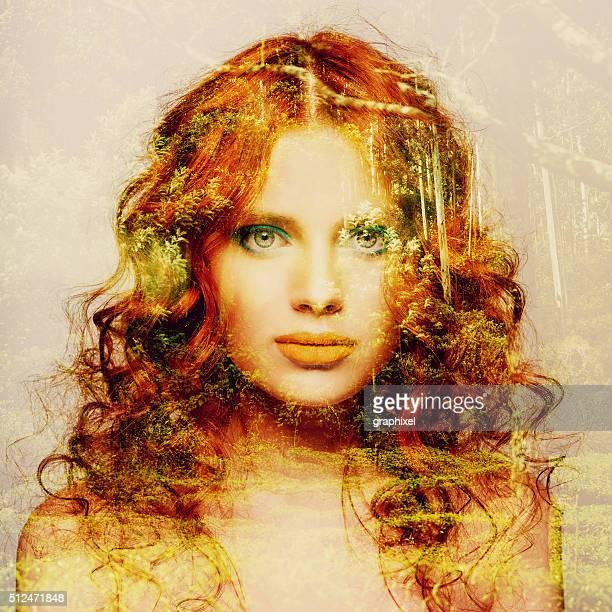 Double Exposure Portrait of Redhead Women