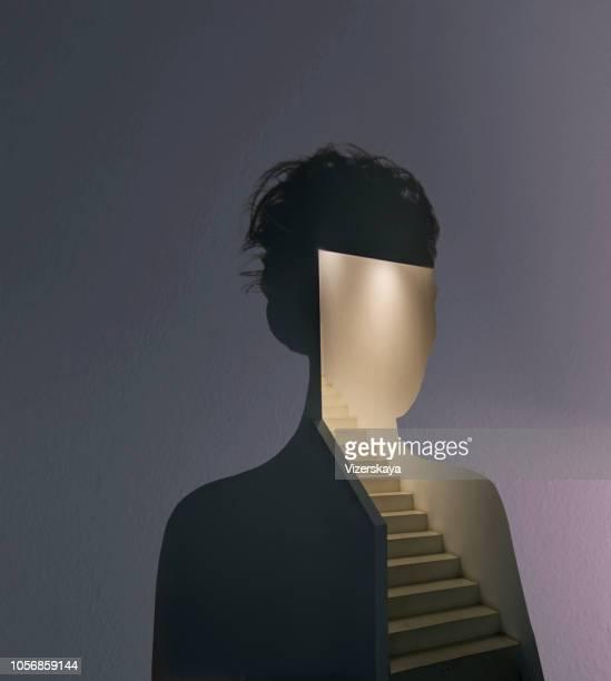 dubbele blootstelling portret - art stockfoto's en -beelden