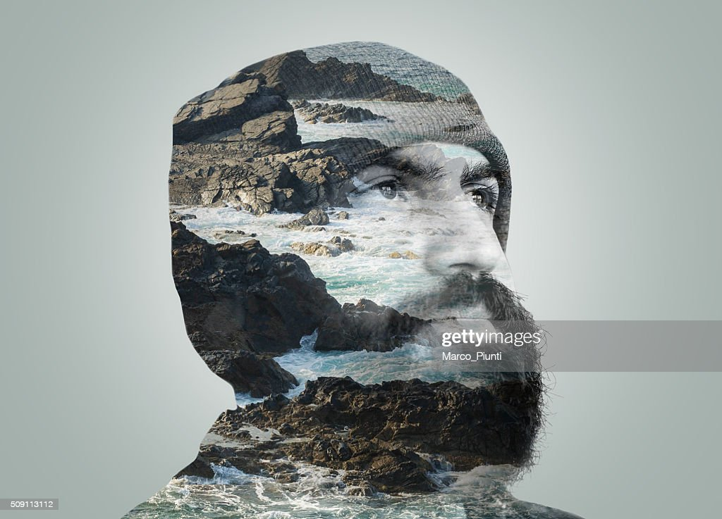 Exposição Dupla Retrato : Foto de stock
