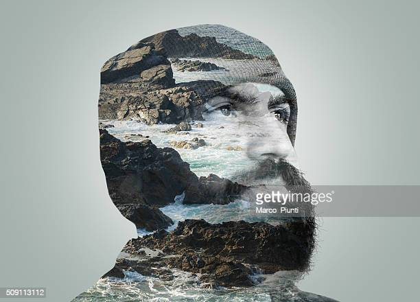 double exposure portrait - scenics nature photos stock photos and pictures