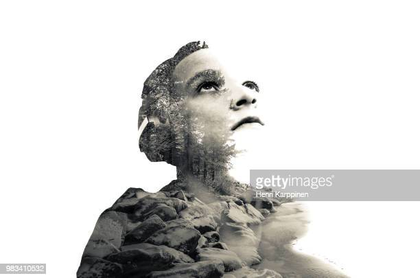 double exposure selfie - engraved image stock pictures, royalty-free photos & images