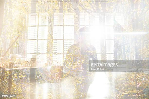 Double exposure view of a entrepreneur guy working with screen computer in modern office with a blending image of a wild forest with bright light.