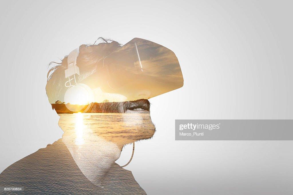 Double Exposure Virtual Reality : Stock Photo