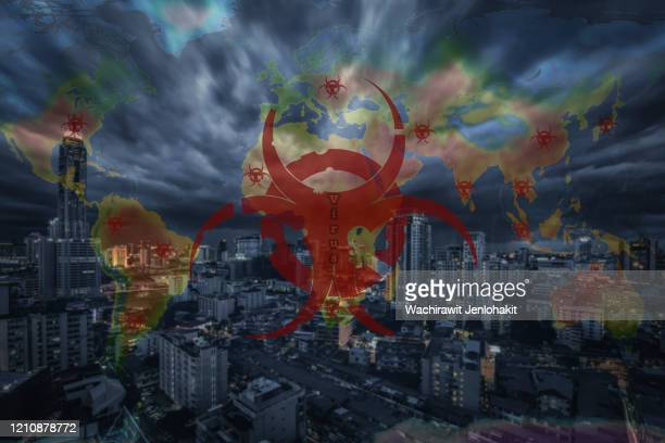 double exposure, virus various types of viruses that are deadly to human life. covid-19, ebola, spanish flu and others that may be caused by human experiments or caused by nature, destroying humans, destroying cities and causing disaster.  enormous loss. - weaponry stock pictures, royalty-free photos & images