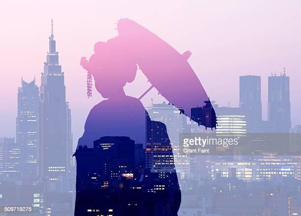 Double exposure:Geisha silhouette