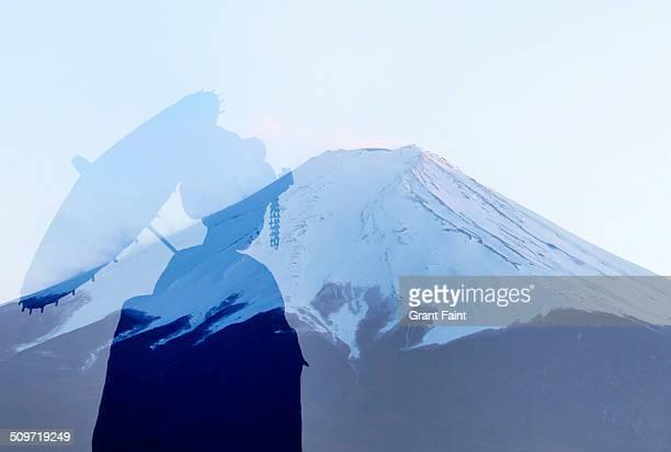Double exposure:Mount Fuji and Geisha.