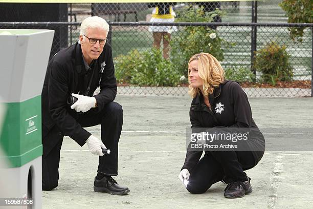Double Fault DB Russell and Julie Finlay inspect a tennis court for clues to find a killer on CSI CRIME SCENE INVESTIGATION Wednesday Jan 23 on the...