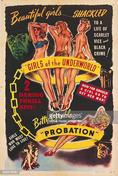 A double feature poster for Melville Shyer's 1940 drama 'Girls of the Underworld' and Richard Thorpe's 1932 drama 'Probation' starring Betty Grable