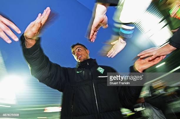 Double goal scorer Franco di Santo of Bremen celebrates with fans after the Bundesliga match between SV Werder Bremen and Hertha BSC at Weserstadion...