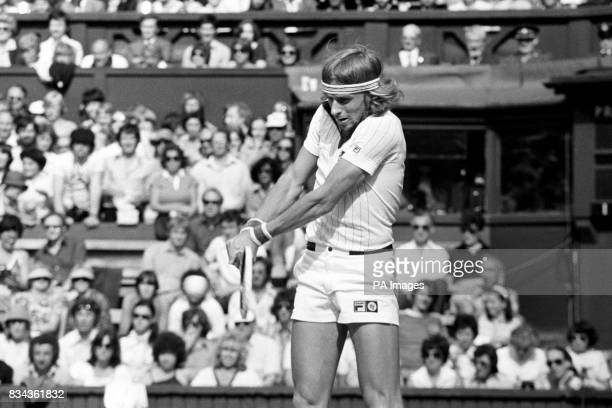 A double handed return from defending champion Bjorn Borg of Sweden against Vitas Gerulaitis of the USA