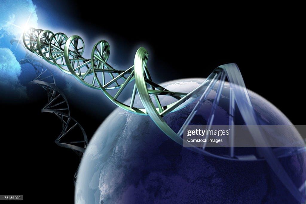 Double helix and globe : Stockfoto