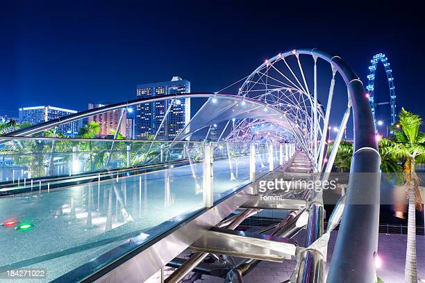 double helix bridge and flyer, singapore - singapore stock photos and pictures