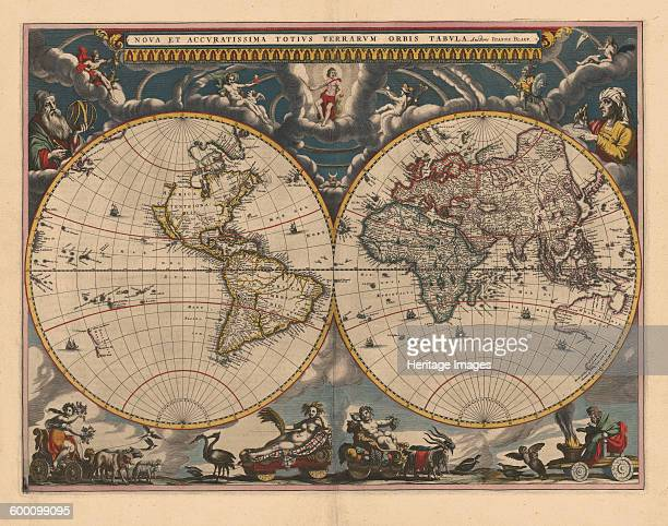 Double hemisphere map of the World 1662 Private Collection Artist Blaeu Joan