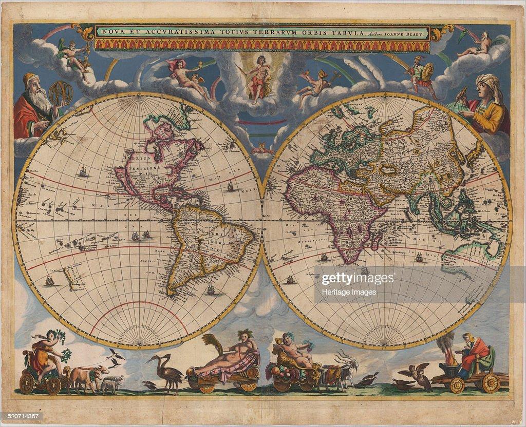 Double hemisphere map of the World. Artist: Blaeu, Joan (1596-1673) : Nieuwsfoto's