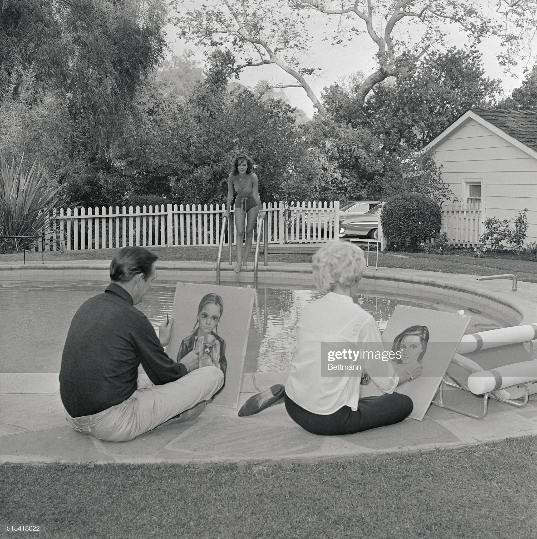 Keanes at Natalie Wood's Home : News Photo