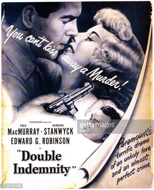 Double Indemnity, poster, Fred MacMurray, Barbara Stanwyck, Edward G. Robinson, 1944.
