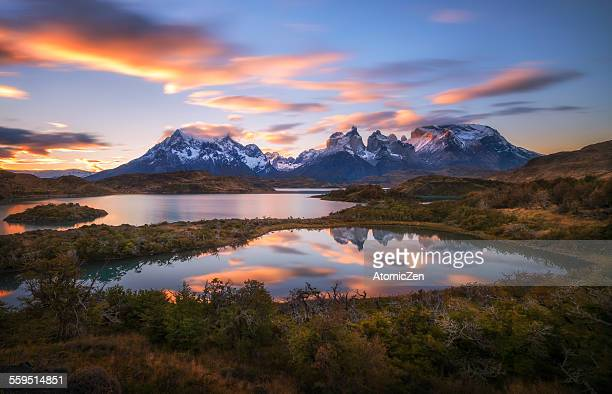 double lake reflection - torres del paine national park stock photos and pictures