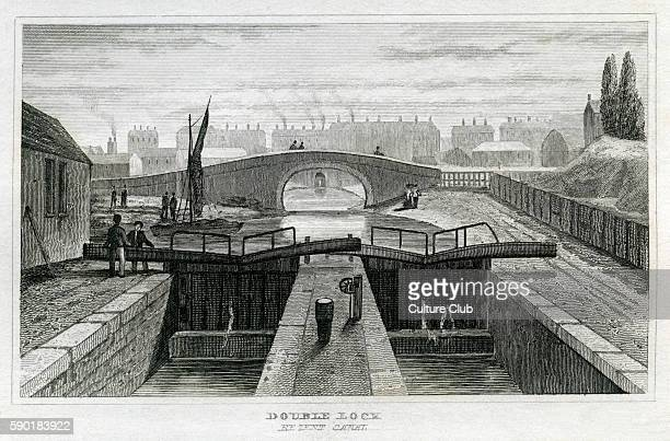 Double lock Regent's Canal London From 1835 print