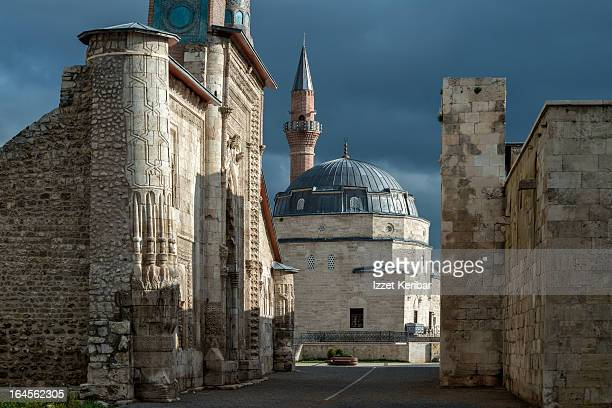 double minaret madrasah and kale mosque - sivas stock pictures, royalty-free photos & images